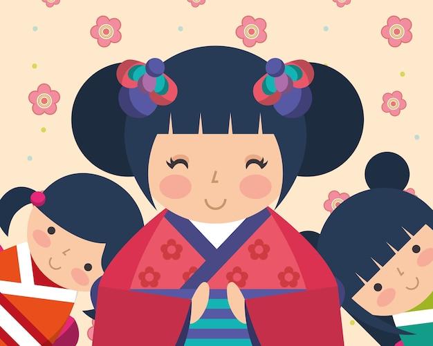 Japanse kokeshi pop kimono