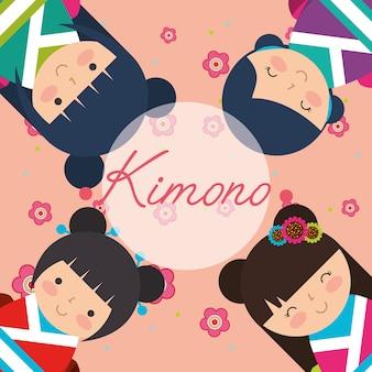 Japanse kokeshipop in kimono
