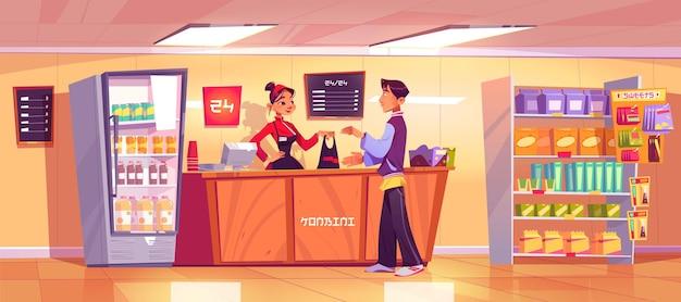 Japanse konbini-winkel met verkoper geeft producten aan de consument