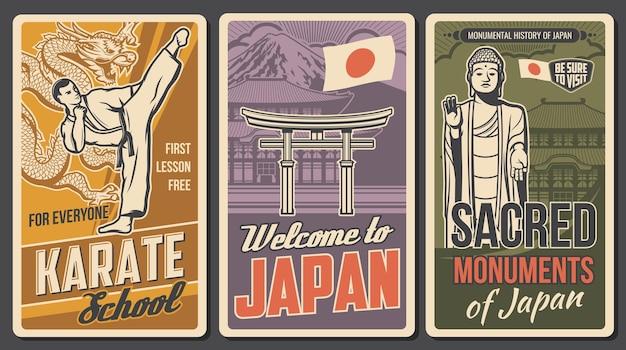 Japanse krijgskunst, heilige plaatsen retro posters