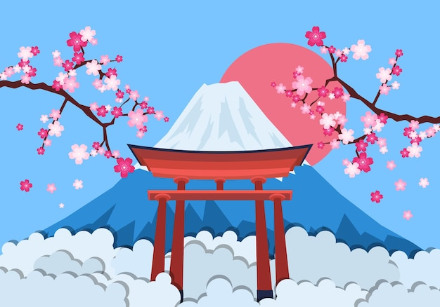 Japanse landschapsachtergrond met torii. vectorillustratie. abstracte achtergrond.