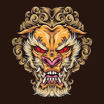 Japanse leeuw tattoo logo