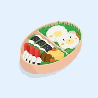 Japanse lunchbox, bento. grappige cartoon eten. isometrische kleurrijke illustratie op blauwe achtergrond.