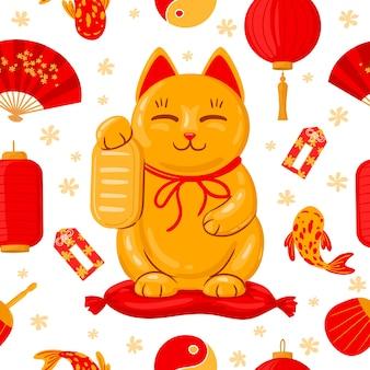 Japanse maneki neko-banner. veel geluk japan traditionele kat, schattige kawaii gelukkige maneki neko cartoon vectorillustratie. leuke maneki neko poster. japanse kat en lantaarn, aziatisch fortuin