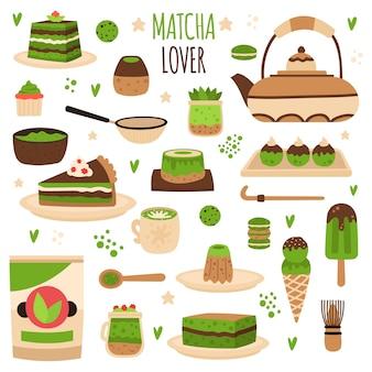 Japanse matcha poeder voorbereiding tools illustratie