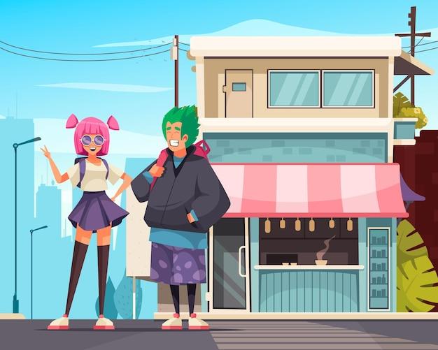 Japanse moderne compositie met buitenaanzicht van stadsdeel met herenhuis en een stel tieners