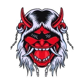 Japanse onimask head rock n roll devil vector tshirt design premium