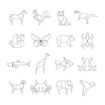 Japanse origami papier dieren lijn pictogrammen