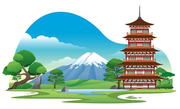 Japanse pagode met prachtig achtergrondlandschap
