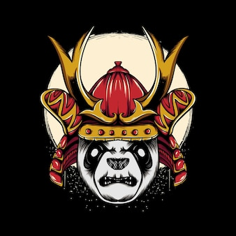 Japanse panda-illustratie in krijgerstijl voor t-shirtontwerp Premium Vector