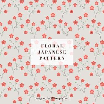 Japanse patroon met rode bloemen