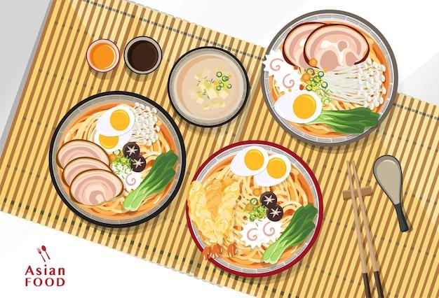 Japanse ramen noodle, traditionele aziatische noedelsoep, illustratie.