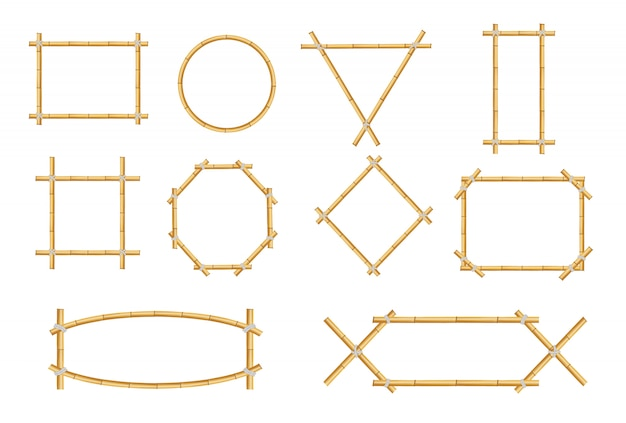 Japanse rustieke bamboe teken frame geïsoleerde set