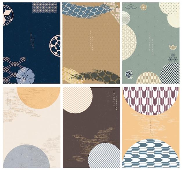 Japanse sjabloon. hand getrokken golf achtergrond. lijnpatroon in aziatische stijl met japans patroon. chinese zee in oosterse kunsten. natuurlijke luxe textuur.