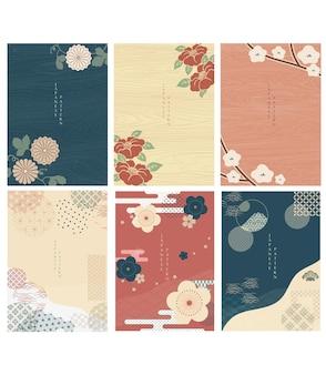 Japanse sjabloonvector. florale decoratie achtergrond. kersenbloesembloem met houten textuur in chinese stijl. natuurlijke luxe textuur. geometrisch en abstract patroon.