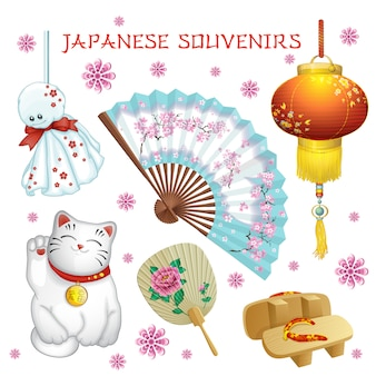 Japanse souvenirs: ventilator, zaklamp, teru-teru-bodzu, geta, kat.