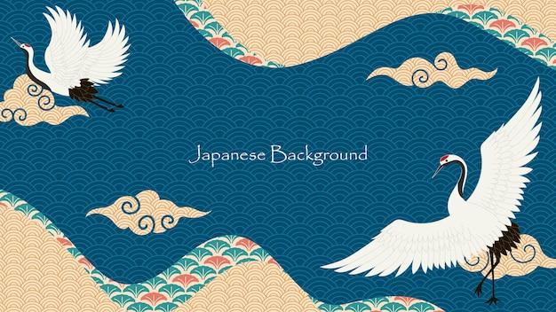Japanse stijl aziatische decoratieve achtergrondontwerp premium vector
