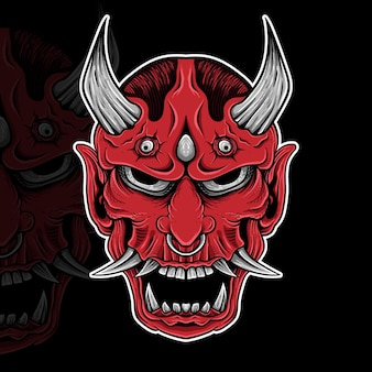 Japanse tattoo oni mask hannya de traditionele japanse demon oni mask illustratie
