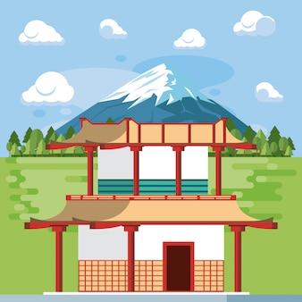 Japanse tempel in de natuur
