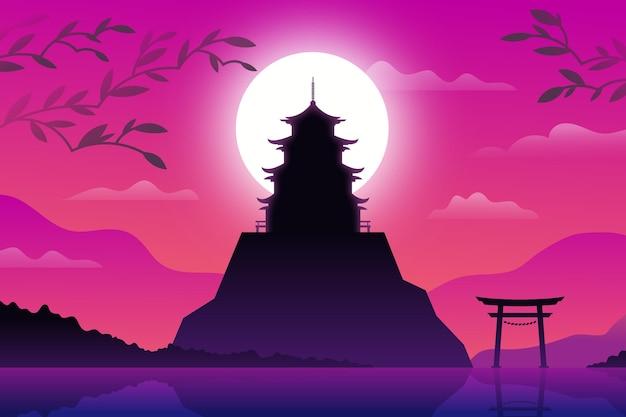 Japanse tempel op een heuvel