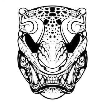 Japanse tijger masker illustratie en t-shirt ontwerp