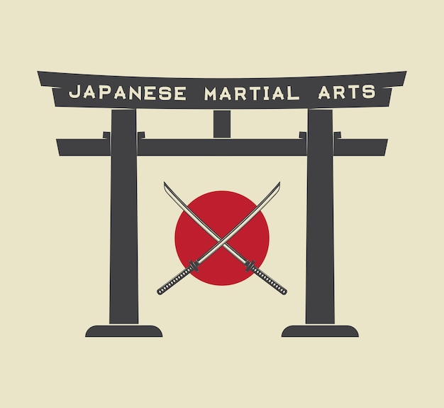 Japanse torii poort met japanse vlag en katana in vintage stijl. vectorillustratie