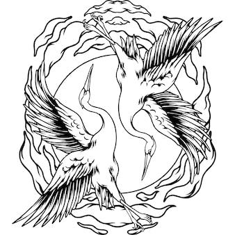 Japanse vliegende gevechtskranen silhouet
