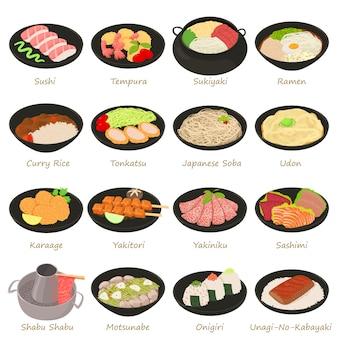Japanse voedsel pictogrammen instellen