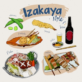 Japanse voedselelementen, izakaya-stijl. snack bar. hand tekenen schets vector.