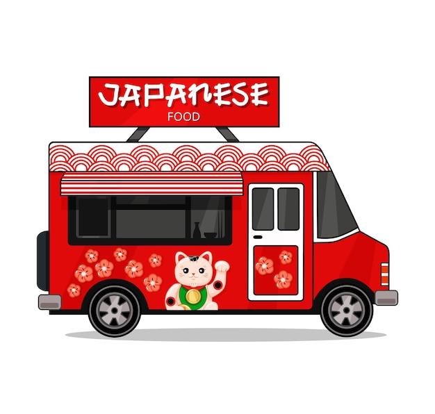 Japanse voedselvrachtwagen op een witte geïsoleerde achtergrond modern heerlijk commercieel voedselvrachtwagenvoertuig