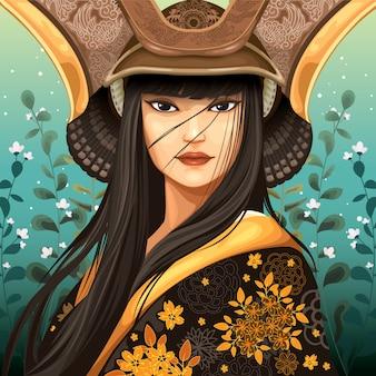 Japanse vrouw die samoeraienhelm draagt