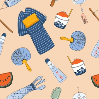 Japanse zomer essentiële naadloze patronen