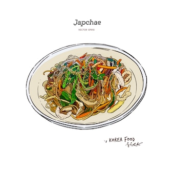 Japchae, korea voedselillustratie
