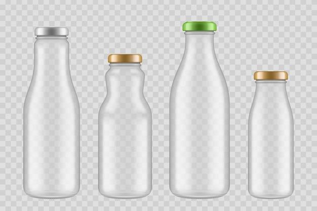 Jar glazen flessen. transparante verpakkingen voor fruitsap en vloeibaar voedsel