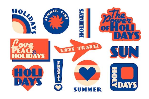 Jaren 70 stijl reissticker set