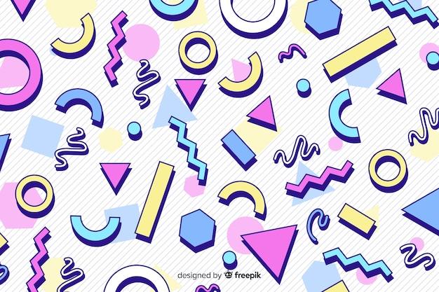 Jaren 80 kleurrijke geometrische achtergrondstijl
