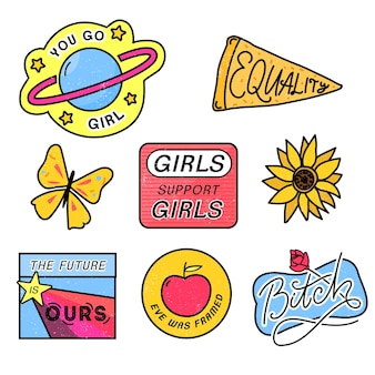 Jaren 90-patches met feministische slogans you go girl girls ondersteunen meisjes bitch teken 80s-stijl pin-ontwerp