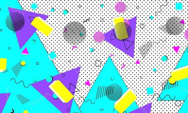 Jaren 90 patroon. popart kleur achtergrond. hipster-stijl 80s-90s. abstracte kleurrijke funky achtergrond.