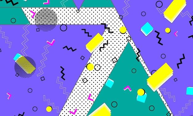 Jaren 90 patroon. popart kleur achtergrond. hipster-stijl jaren 80-90. abstracte kleurrijke funky achtergrond.