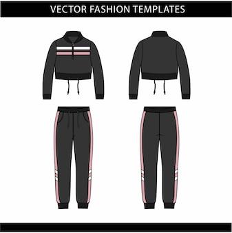 Jas en broek mode platte schets sjabloon, joggingoutfit voor- en achterkant, sportkleding outfit