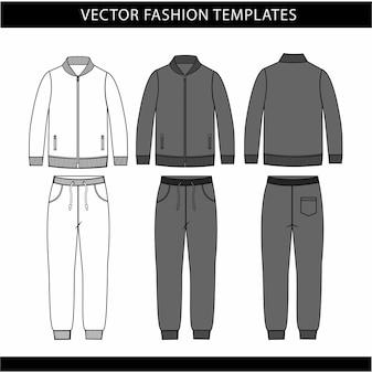 Jas en joggingbroek mode platte schets sjabloon, joggingoutfit voor- en achterkant, sportkleding outfit