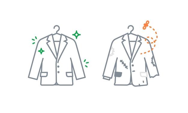 Jas of blazer pictogrammen nieuwe en oude kleding negatieve en positieve metafoor