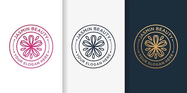 Jasmine-logo met embleemlijnstijl en ontwerpsjabloon voor visitekaartjes premium vector
