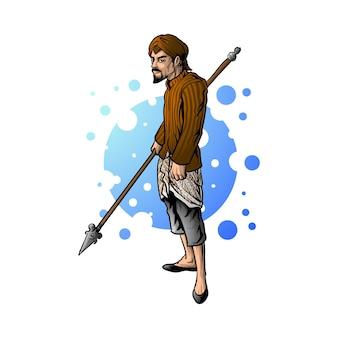 Javaanse paleis soldaten karakter illustratie