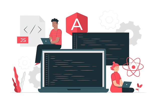 Javascript frameworks concept illustratie