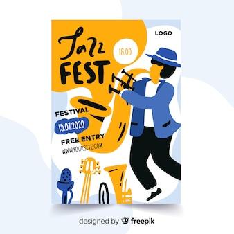 Jazz abstract hand getekend poster sjabloon