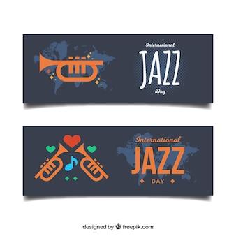 Jazz banners met trompet plat ontwerp