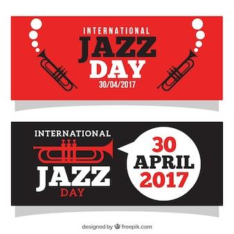 Jazz banners met trompetten