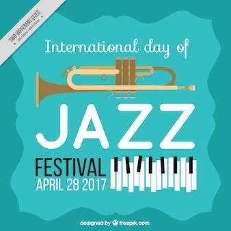 Jazz dag achtergrond met trompet en piano