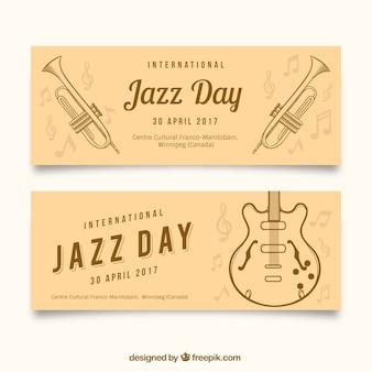 Jazz dag banners met gitaar en hand getekende trompetten